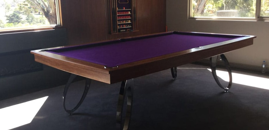 A purple pool table delivered to an Australian home