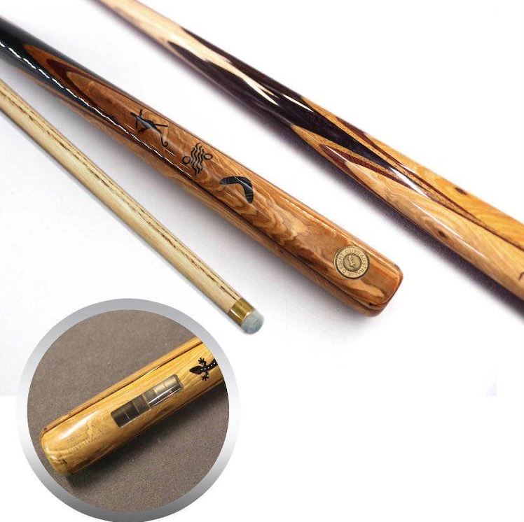 Customised pool cues with extra weight to influence shots.