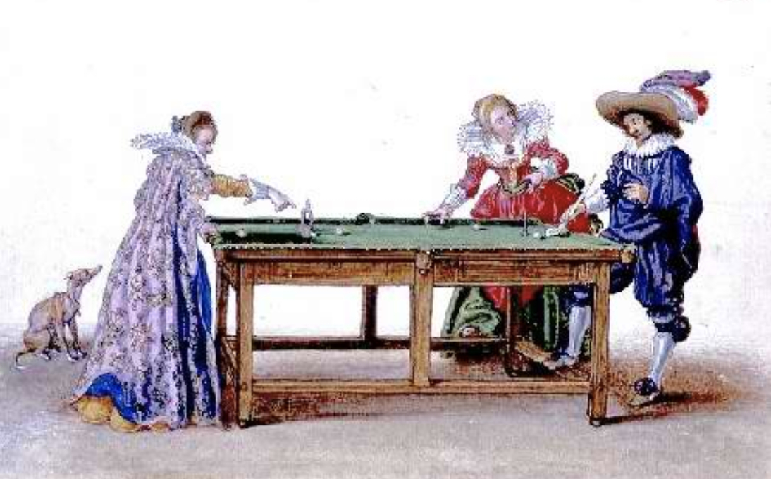 Noble people playing pool around a table.