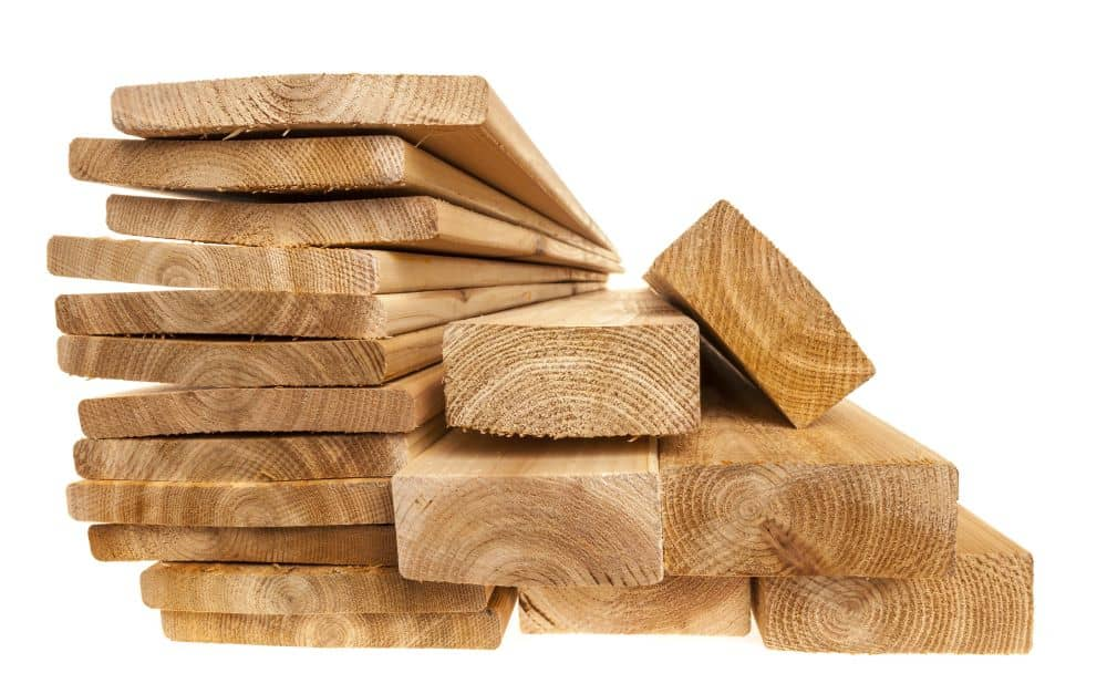 Pile of timber planks and beams