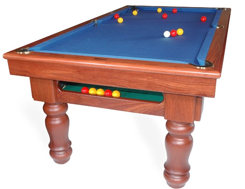 A traditional ball return pool table with sturdy frame and legs.